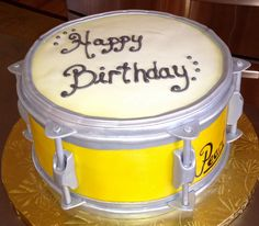Very cool birthday cake! Happy Birthday Drums, Happy Birthday Meme, Cool Birthday Cakes, Happy Birthday Images, Drum Cake, Fiesta Decorations, Cabbage Rolls, Sweet 16 Parties, Food Themes