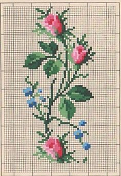 Cross-stitch - Rose vine with periwinkles? Cross Stitch Love, Cross Stitch Borders, Cross Stitch Flowers, Cross Stitch Charts, Cross Stitch Designs, Cross Stitching, Cross Stitch Embroidery, Cross Stitch Patterns, Vintage Cross Stitches
