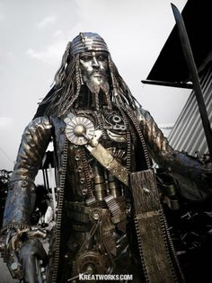 Metal captain Jack Sparrow made from recycled machine parts.
