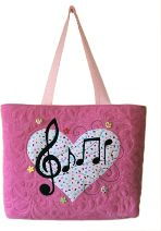 Gecko Fabric Art - applique and quilted mini tote bag - music notes design.