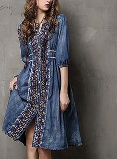 f5db8b9a11f6fc8 Vintage Cotton Jean Embroidered Dress. Джинсовые Юбки, Ретро Мода ...