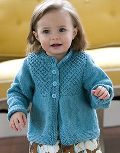 Knit Smocked Baby Cardigan free pattern