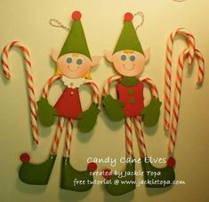 Candy Cane Elves--Includes pdf and video instructions. The pdf shows the different pieces needed to make each elf which can be used as a pattern in place of the punches and dies the instructions call for.