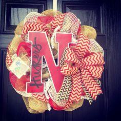 Burlap Wreath // Red // Black // White // by KilbiBranchDesigns, $85.00