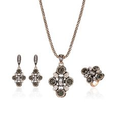 2017 New Jewelry Set Women Vintage Turkish Style Chain Pendant Necklace Drop Earrings Ring Old Silver color for wedding #Affiliate
