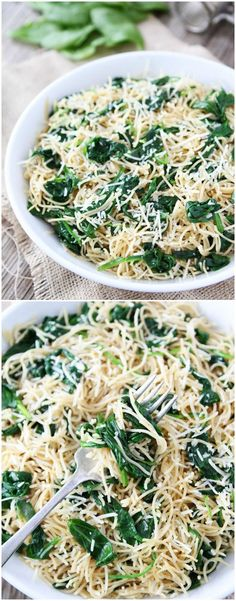 5-Ingredient Spinach Parmesan Pasta Recipe on twopeasandtheirpod.com Love this quick and easy pasta dish!