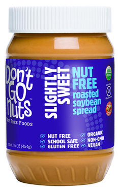 SLIGHTLY SWEET Nut-Free roasted soybean spread: A delicious peanut-butter alternative with only 2g of added sugar. Also non-GMO and certified gluten-free, organic and kosher-dairy.