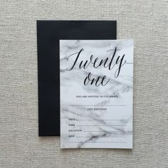 Ready Made Marble 21st Invitation, very on trend - all you need to do is fill in the details. A great style for a masculine or feminine celebration!
