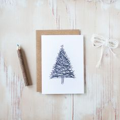 Christmas Tree  Holiday Card by AnastasiaMarieShop on Etsy, $3.50