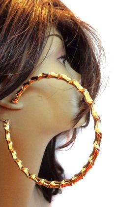 Bamboo Hoop Earrings Plated Gold Or Silver Tone Inch Hoop Earrings Small Earrings, Chain Earrings, Clip On Earrings, Gold Earrings, Oversized Hoop Earrings, Bamboo Hoop Earrings, Wedding Earrings Drop, Orange Earrings, Fashion Earrings