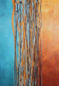 Snijpunt blauw turquoise oranje gele roest bruin originele