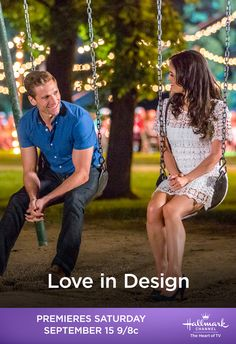 """Sep 2018 - Andrew Walker and Danica McKellar find """"Love in Design"""" on September 15 on Hallmark Channel. Hallmark Channel, Películas Hallmark, Hallmark Christmas Movies, Holiday Movie, Hallmark Movies, Hallmark Romantic Movies, Movie To Watch List, Good Movies To Watch, Movie Poster Font"""
