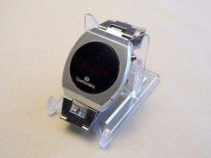 Vintage Quartzmatic Mens Silvertone LED Watch, Circa 1970s.