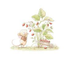Ilustracion infantil raton fresas