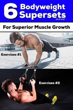 Supersets are amazing for fast workouts and muscle hypertrophy. Use these 6 bodyweight supersets for superior muscle growth and a speedy workout. Full Body Bodyweight Workout, Bodyweight Strength Training, Plyometric Workout, Calisthenics Workout, Plyometrics, Body Training, Boxing Workout, Workout Tips, Workout Motivation