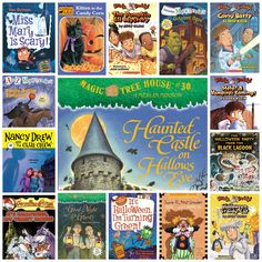 Halloween Chapter Books Halloween Chapter Books for elementary school {2nd through 5th grade}. I made a list of some great chapter books for kids 2nd grade and up. However any of these can be read aloud to the younger kids. They are fun and not scare the pants off of you scary. So grab a stack of books, pop some popcorn and have a Halloween Reading Fest!