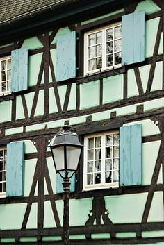 Bleu and timbered facades of Colmar, France