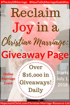 31 Ways to Reclaim Joy in a Christian Marriage Giveaway Page. Ultimate Giveaway for Reclaim Hope & Joy in your Christian Marriage. Communication In Marriage, Intimacy In Marriage, Unhappy Marriage, Marriage Help, Biblical Marriage, Successful Marriage, Marriage Advice, Biblical Womanhood, Relationships