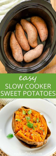 Slow cooker sweet potatoes---the easy way to cook sweet potatoes when you don't want to turn on the oven. Quick, easy, gluten-free, paleo, vegan via @cookeatpaleo