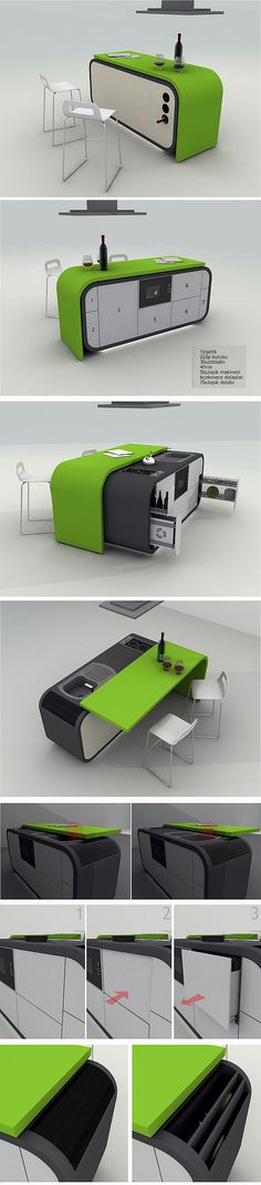 Whether you want to save space or add a coolness factor to your home, multitasking hidden furniture is the perfect solution. Check out the best pieces! Folding Furniture, Urban Furniture, Space Saving Furniture, Cool Furniture, Furniture Design, Multifunctional Furniture, Transforming Furniture, Creative Box, Compact Kitchen