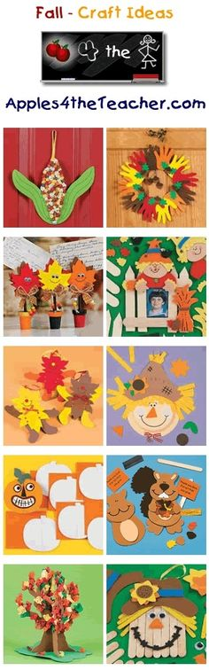 Fun Fall crafts for kids - Fall craft ideas for children. I can use these for my door Autumn Crafts, Fall Crafts For Kids, Thanksgiving Crafts, Crafts To Do, Holiday Crafts, Art For Kids, Holiday Fun, Harvest Crafts, Daycare Crafts