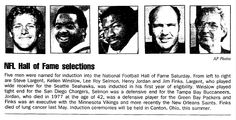 "A newspaper article about the 1995 inductees into the Pro Football Hall of Fame, published in the Aberdeen Daily News (Aberdeen, South Dakota), 29 January 1995. Read more on the GenealogyBank blog: ""NFL Family Trees: The Genealogy of 5 Famous Football Families."" http://blog.genealogybank.com/nfl-family-trees-the-genealogy-of-5-famous-football-families.html"