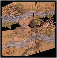 Audrey Kawasaki- one of my favourite artists Audrey Kawasaki, Plywood Art, Matou, La Art, Affordable Art Fair, Tattoo Project, California Art, Arte Pop, Fantasy Women