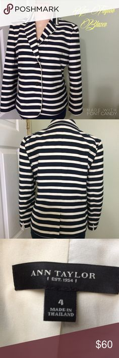 "Ann Taylor Cute Striped Blazer💕 Navy and Cream(very light almost winter white) striped blazer with two buttons and a slit in back along with slits on backs of each sleeve(see pic 2) Beautiful condition like new except for a small peachy spot on chest in white area(see pic 4 middle 2nd stripe down) Should come out when dry cleaned which I'm leaving up to owner with a discount already applied to price. 18.5"" across chest laying flat and 21.5"" long 3/4 length sleeve....bundle to save more plus…"
