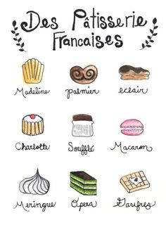 "Illustration of the pastry shop, ""Des Patisserie Francaises"", watercolor. Want this print for my kitchen. Desserts Français, French Desserts, Fruits Secs Bio, Buch Design, French Classroom, French Words, French Sayings, French Phrases, French Quotes"