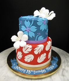 Marvelous Picture of Stitch Birthday Cake . Stitch Birthday Cake Hawaiian Patterns Mother Mousse Recipes and yummy cake tips Hawaiian Birthday, Luau Birthday, Disney Birthday, Birthday Cake Disney, Birthday Ideas, Birthday Cakes For Kids, Mother Birthday Cake, Disney Themed Cakes, Lilo And Stitch Cake