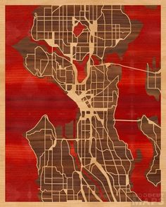 16x20 Woodcut Map of Seattle, Washington -- in a sea of blood