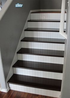 How to rip up carpet & redo stairs yourself. Carpet on stairs is travelled more than anywhere else in the house, meaning that it'll get worn out faster - why replace it? Love the beadboard. Home Design, Design Ideas, Bar Designs, Interior Design, Redo Stairs, Basement Stairs, Stair Redo, Stair Makeover, Basement Flooring