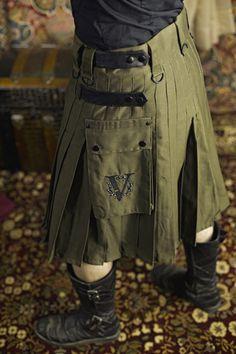 Kilt V-kilt Verillas mens bottom canvas green black brown utility utilikilt