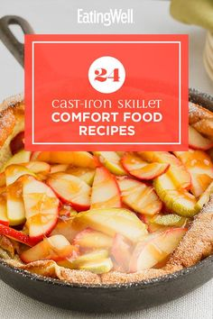 Grab your cast-iron skillet and make one of these warming and delicious recipes. From breakfast to dinner to dessert, these comforting dishes are perfect when you want something familiar. Recipes like Cast-Iron Skillet Pizza with Red Peppers, Chicken & Spinach and Peanut Butter-Chocolate Chip Skillet Cookie are comfort food at its best. #comfortfood #healthyrecipes #healthycomfortfood #healthyrecipes Healthy Apple Cake, Healthy Baking, Skillet Chocolate Chip Cookie, Skillet Cookie, Apple Recipes, Baking Recipes, Apple Butter, Peanut Butter, White Sauce Recipes