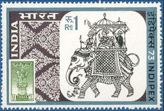 India Stamp with elephant ride