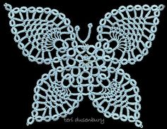 Butterfly  -- these are not crochet pineapples, they are done in Tatting !!!  It'll be interesting trying to figure out the pattern. Beautiful piece !!!