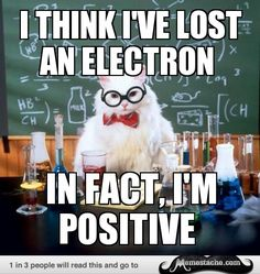 Chemistry Cat Electrons are in fact negative not positive.