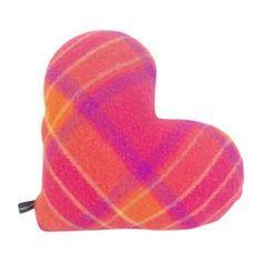 A super soft and snuggly cushion; sewn from vintage wool, this heart-shaped cushion is dark pink, orange, mauve and yellow check. $42.00 Vintage Wool, Orange, Yellow, Mauve, Heart Shapes, Coin Purse, Cushions, Dark, Stylish
