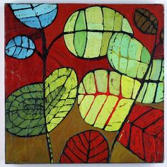 garden leaves_gilhooly | Flickr - Photo Sharing!  Looks like batik, but isn't. Teaches complimentary colors, shape, pattern, repetition.... Maybe start with black glue or sharpie, then oil pastels