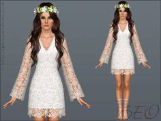 Bohemian wedding dress by BEO - Sims 3 Downloads CC Caboodle
