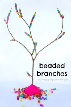 Threading pony beads on tree branches to build fine motor skills. #finemotor #finemotorskills #activityforkids #kidsactivities #preschool #threading #ponybeads #ponybeadactivities #craftsforkids #kidsideas #funforkids #threadingactivities #threadingactivi Fine Motor Activities For Kids, Motor Skills Activities, Indoor Activities For Kids, Fine Motor Skills, Learning Activities, Preschool Activities, Kids Learning, Nanny Activities, Preschool Centers