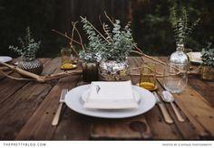 """Eucalyptus and mercury glass: """"Rustic Christmas Table Centerpieces - Harbor Farm Wreaths"""""""
