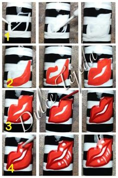 photo tutorial for painting lips #diy #nailart