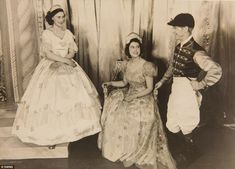 Royal stars: Princess Elizabeth (right) and Princess Margaret (left) in the play Old Mother Red Riding Boots, 1944, at the Royal School, Win...