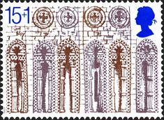 """Reino Unido - Royal Mail. Año: 1989. Tema: """"Arcos y Rosetones del frente Oeste"""". Descripción: 800 aniversario de la Catedral de Ely (1189 - 1989), también conocida como Iglesia Catedral de la Santa e Indivisa Trinidad de Ely. Es la iglesia principal de Ely, en Cambridgeshire, Inglaterra y la sede del obispado de Ely. Fué construida desde 1083 a 1375."""