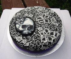 Musta pitsi kakku. -