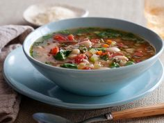 Get Tuscan Vegetable Soup Recipe from Food Network - Add Kale if desired. Omit oil and parmesan cheese for low fat