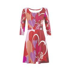 Valentine Hearts Flowers Love Tree 3/4 Sleeve Sundress (D23)