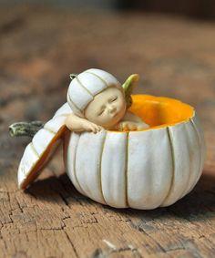Look what I found on #zulily! Sleeping Fairy Baby in White Pumpkin Figurine #zulilyfinds