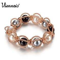 Viennois Elegant Rose Gold Plated Hollow Ball Faux Pearl Elastic Braclet & Bangle Chain For Women new 2014